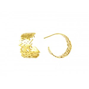 gold plated lines hoop earrings
